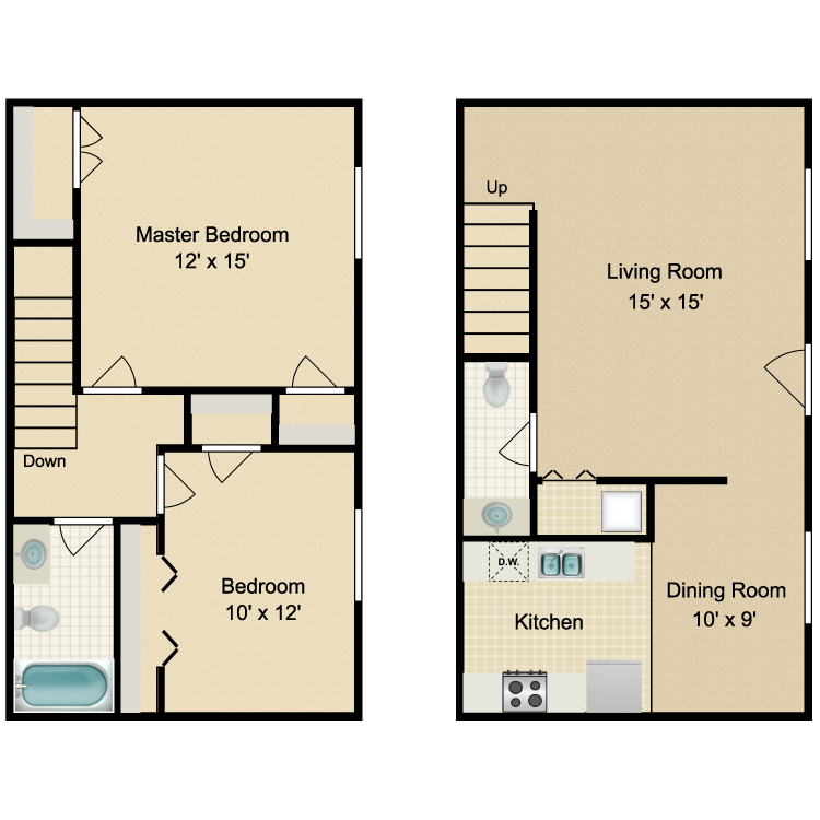 Floor plan image of Parkside 2 Bedroom Townhome