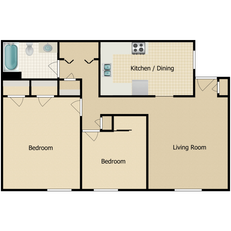 Floor plan image of Parkside 2 Bedroom