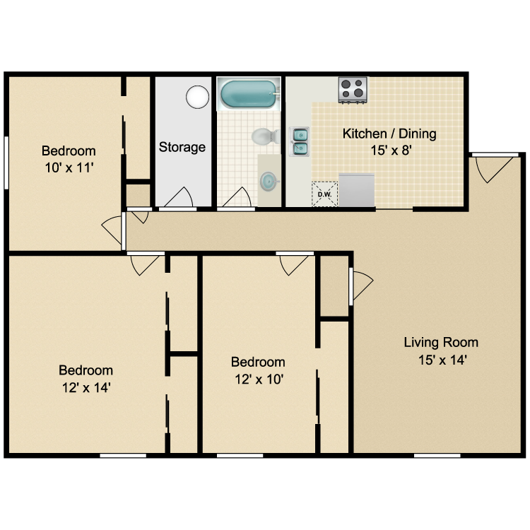 Floor plan image of Parkside 3 Bedroom