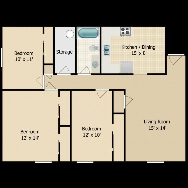 Floor plan image of Parkside 3 Bedroom