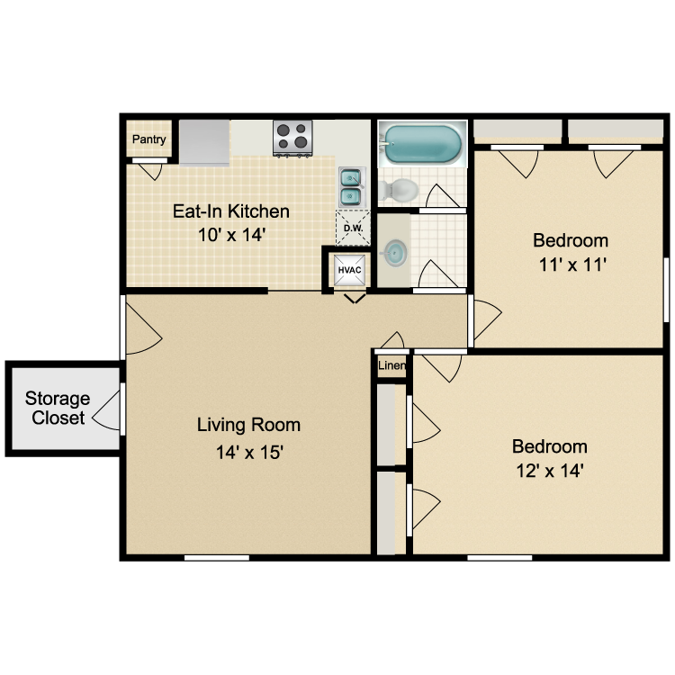 Floor plan image of Valley 2 Bedroom