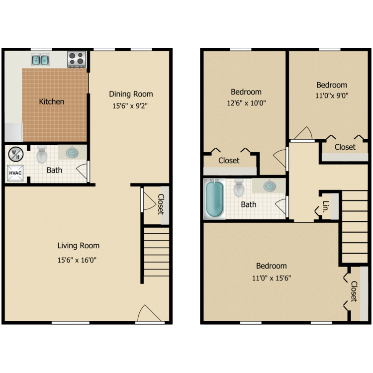 Three Bedroom floor plan image