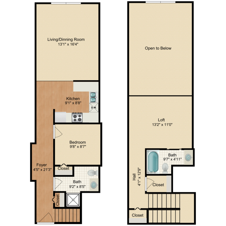 Floor plan image of 1 Bed 2 Bath Loft