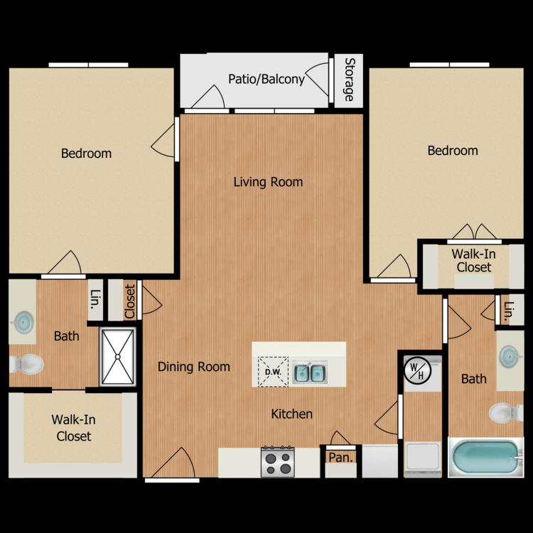 Floor plan image of Two Bedroom B