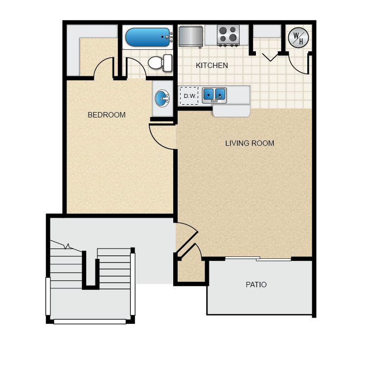 Floor plan image of 1 Bed 1 Bath Flat