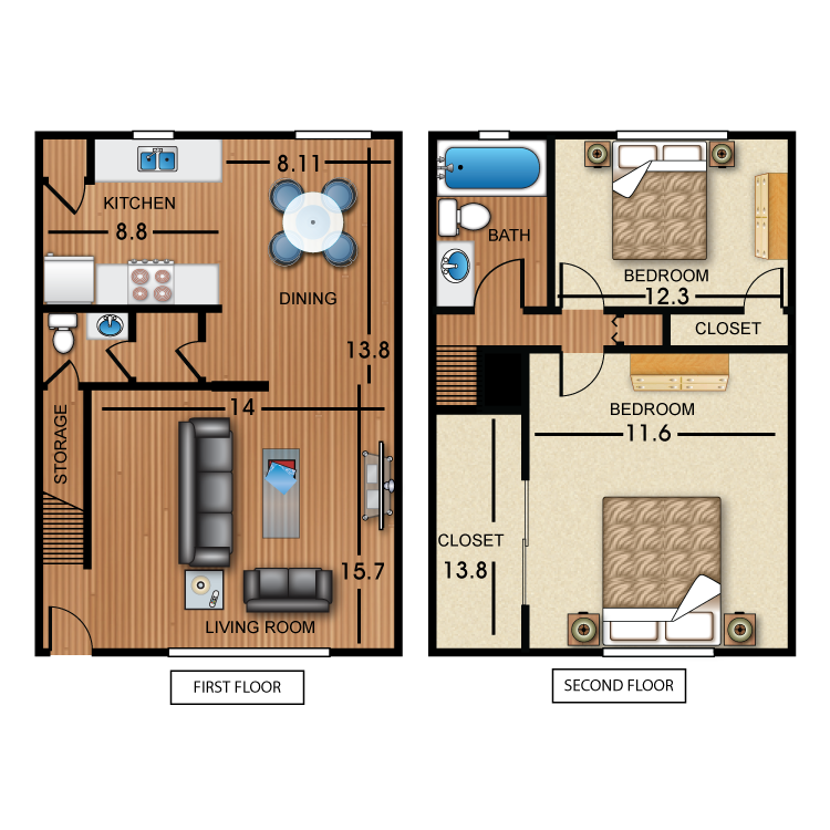 2 Bed 1.5 Bath Townhome floor plan image