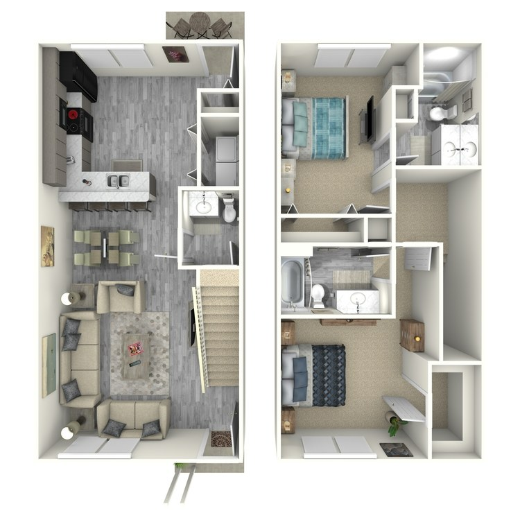 Floor plan image of 2 Bed 2.5 Bath Townhouse Style