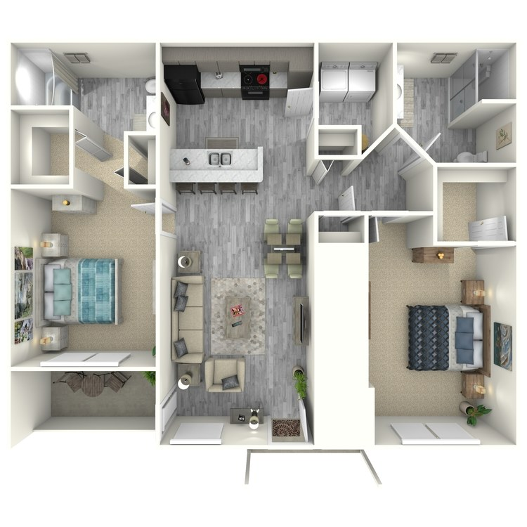 Floor plan image of 2 Bed 2 Bath Garden Style