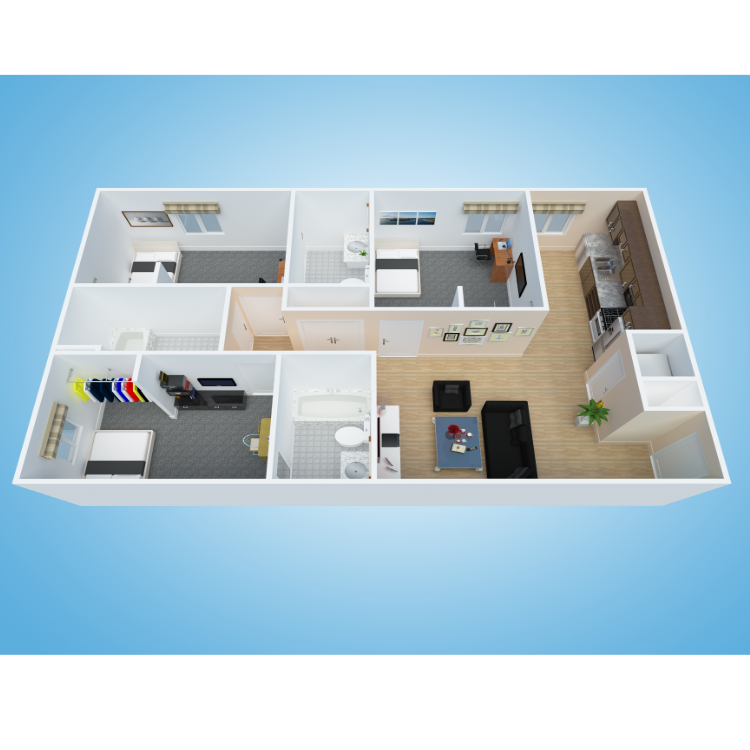 Floor plan image of 3x3