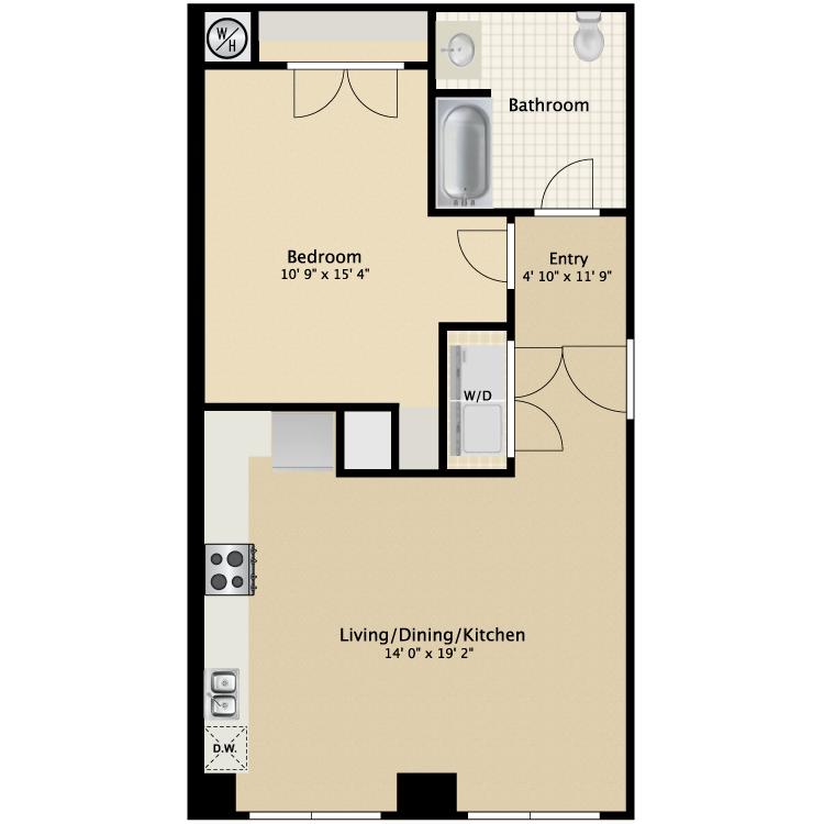 Floor plan image of 1 Bed 1 Bath Flat C
