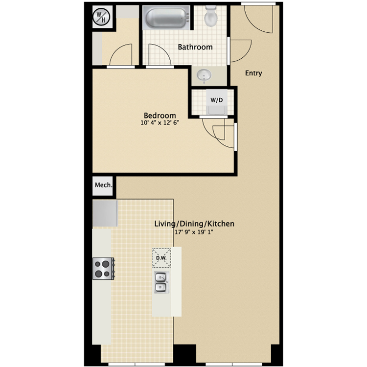 Floor plan image of 1 Bed 1 Bath Flat D