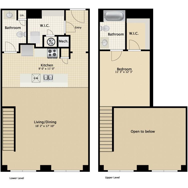 Floor plan image of 1 Bed 1.5 Bath Townhouse