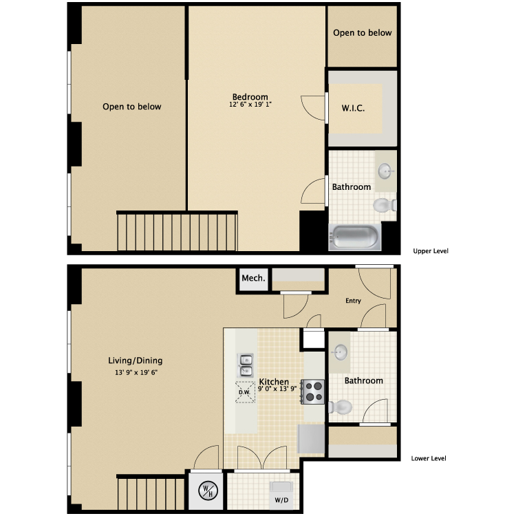 Floor plan image of 1 Bed 2 Bath Townhouse A