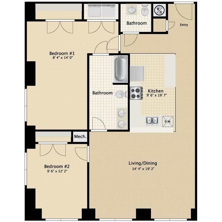Floor plan image of 2 Bed 2 Bath Flat C