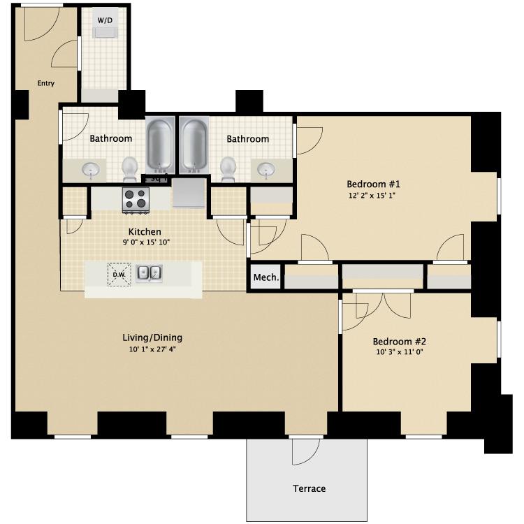 Floor plan image of 2 Bed 2 Bath Flat A