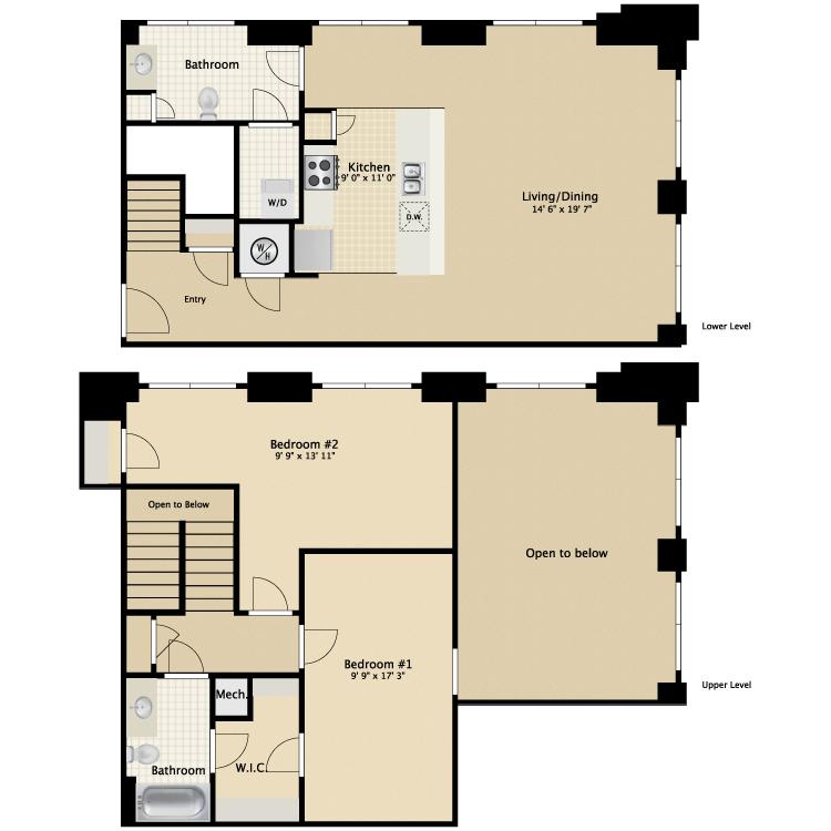 Floor plan image of 2 Bed 2 Bath Flat G