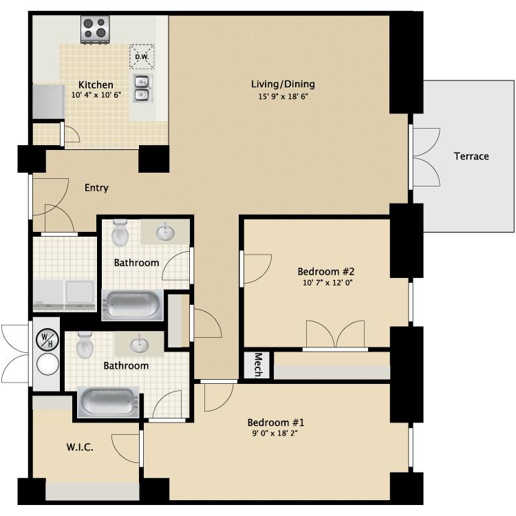 Floor plan image of 2 Bed 2 Bath Flat D