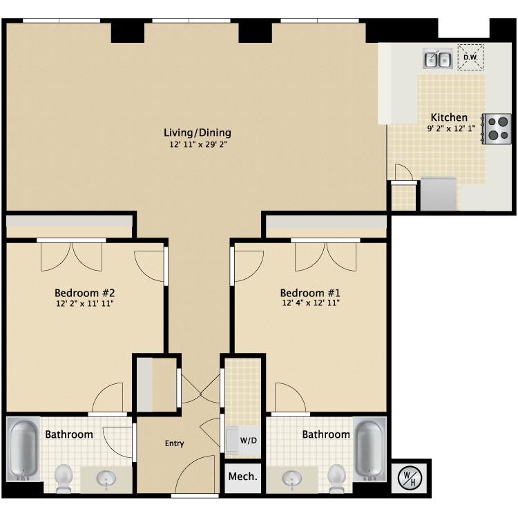 Floor plan image of 2 Bed 2 Bath Flat H
