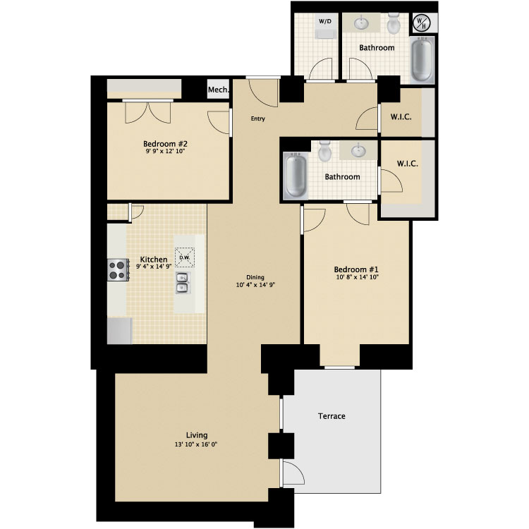 Floor plan image of 2 Bed 2 Bath Flat I