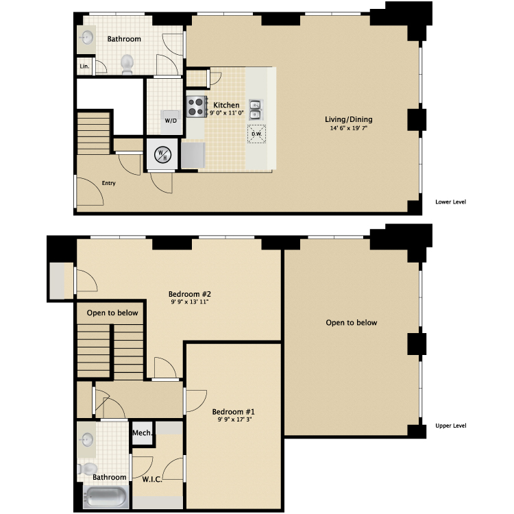 Floor plan image of 2 Bed 2 Bath Townhouse D