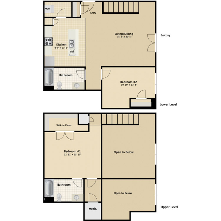 Floor plan image of 2 Bed 2 Bath Townhouse B