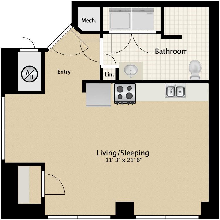 Floor plan image of Studio Efficiency B