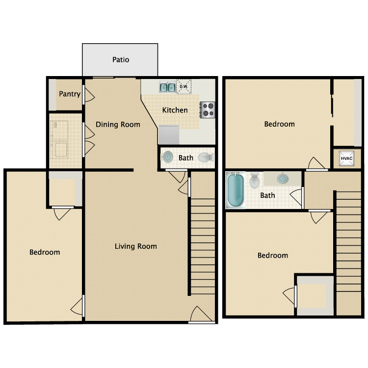 Floor plan image of 3 Bed 1.5 Bath TH