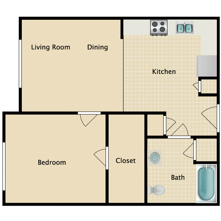 Floor plan image of 1 Bed 1 Bath HC
