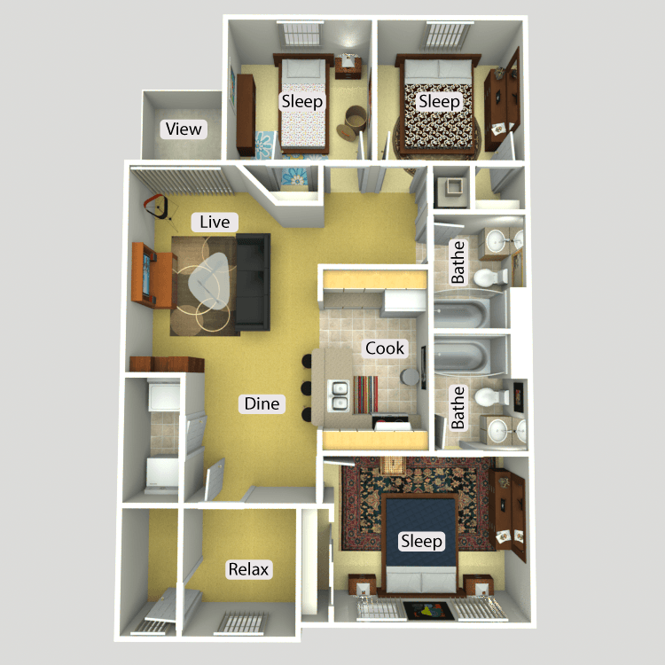 3 Bed 2 Bath A Furnish This Floor Plan