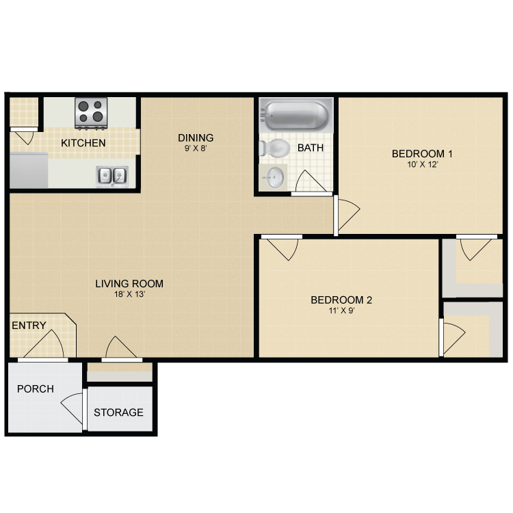 2 Bed 1 Bath A. Beeville Station   Availability  Floor Plans   Pricing