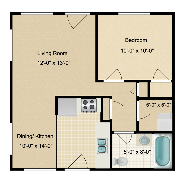 Floor plan image of 1 Bed 1 Bath - Renovated