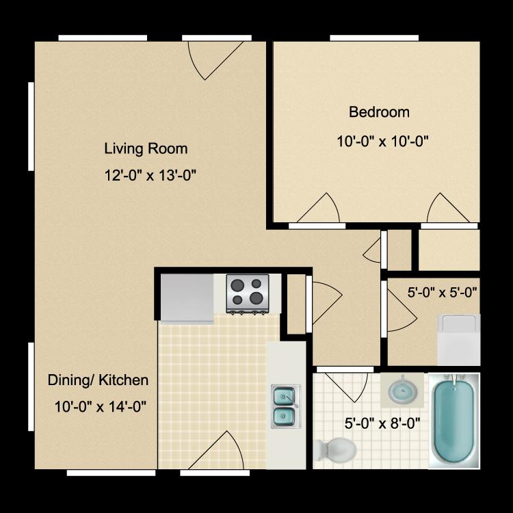 Floor plan image of 1 Bed 1 Bath -renovated
