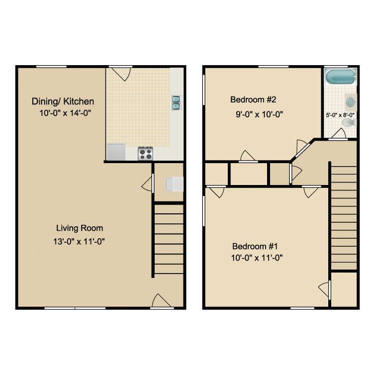 Floor plan image of 2 Bed 1 Bath Townhouse