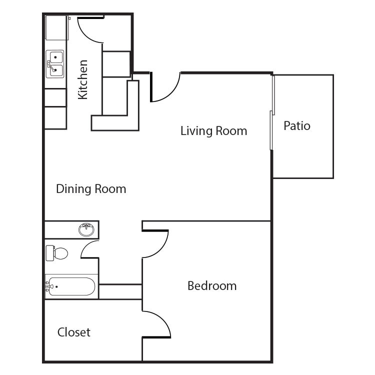 One Bedroom One Bath 579 Sq. Ft.