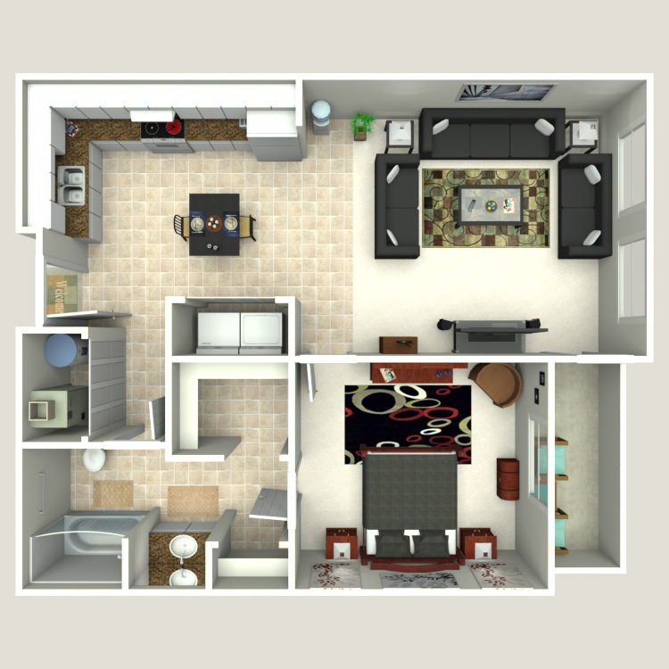 Floor plan image of One Bedroom A