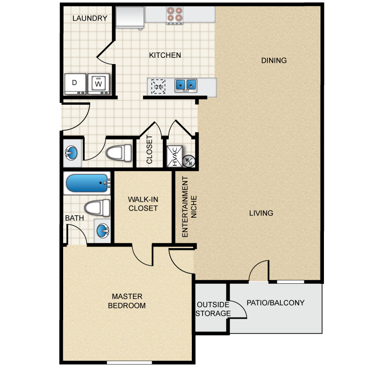 Floor plan image of 1A - 1 Bed 1.5 Bath