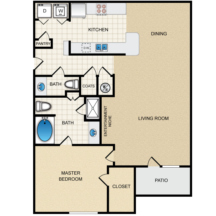 Floor plan image of 1B - 1 Bed 1.5 Bath Deluxe