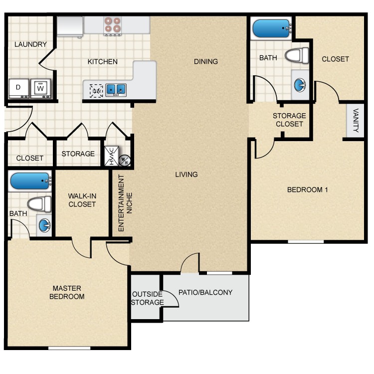 Floor plan image of 2A - 2 Bed 2 Bath