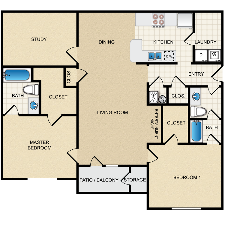 Floor plan image of 2B - 2 Bed 2 Bath with Study