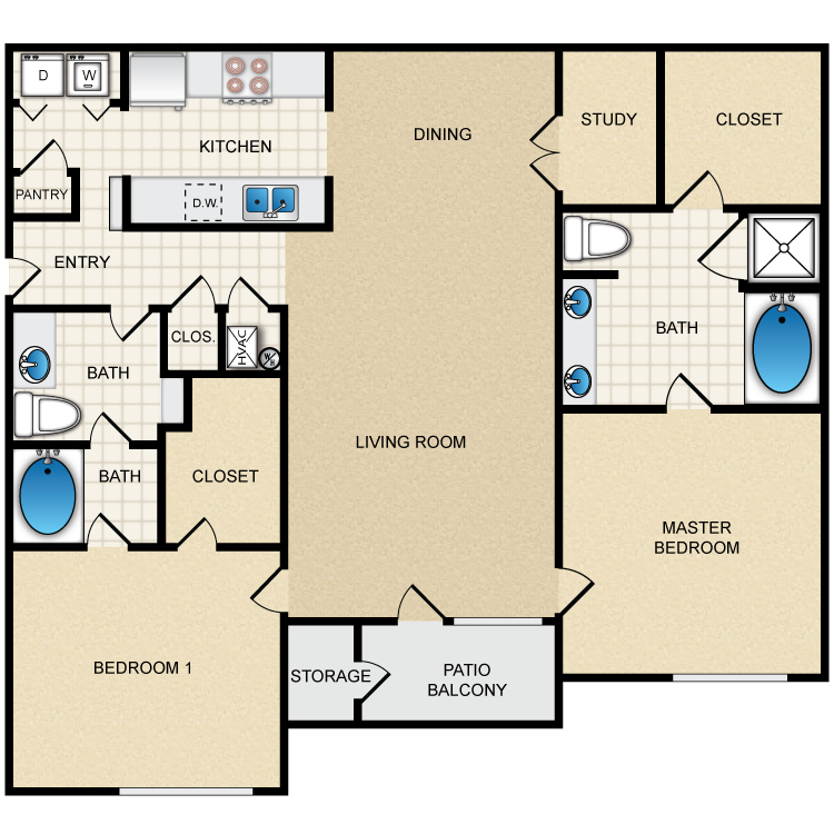 Floor plan image of 2C - 2 Bed 2 Bath Deluxe
