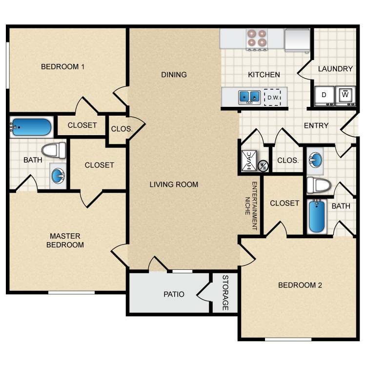 Floor plan image of 3A - 3 Bed 2 Bath