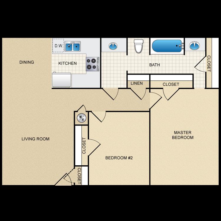 Floor plan image of 2 Bed 1 Bath Flat