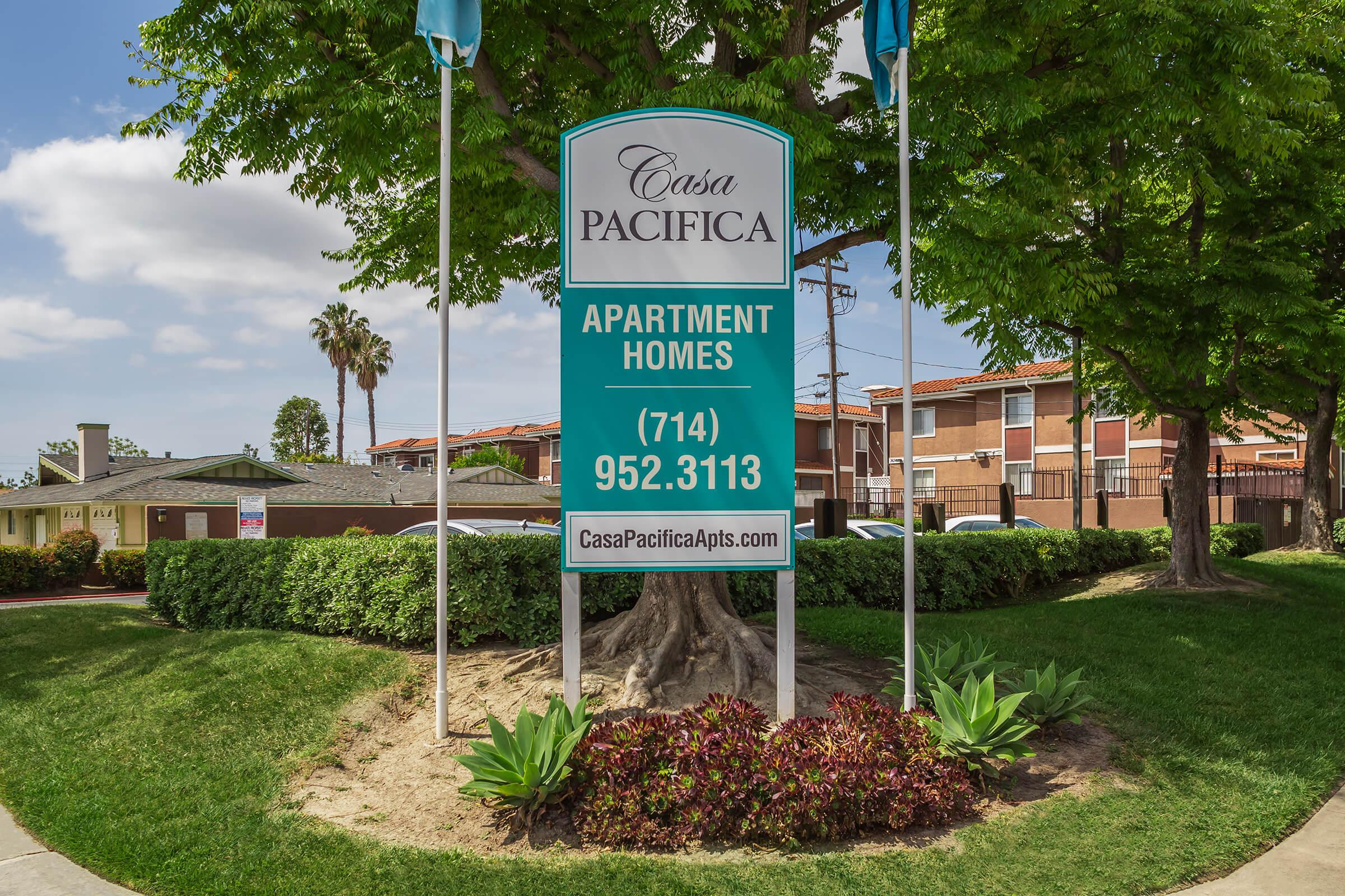 Casa Pacifica Apartment Homes monument sign