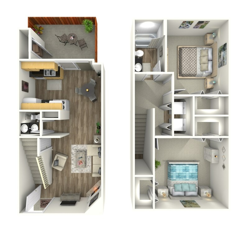 Floor plan image of Two Bedroom Townhome