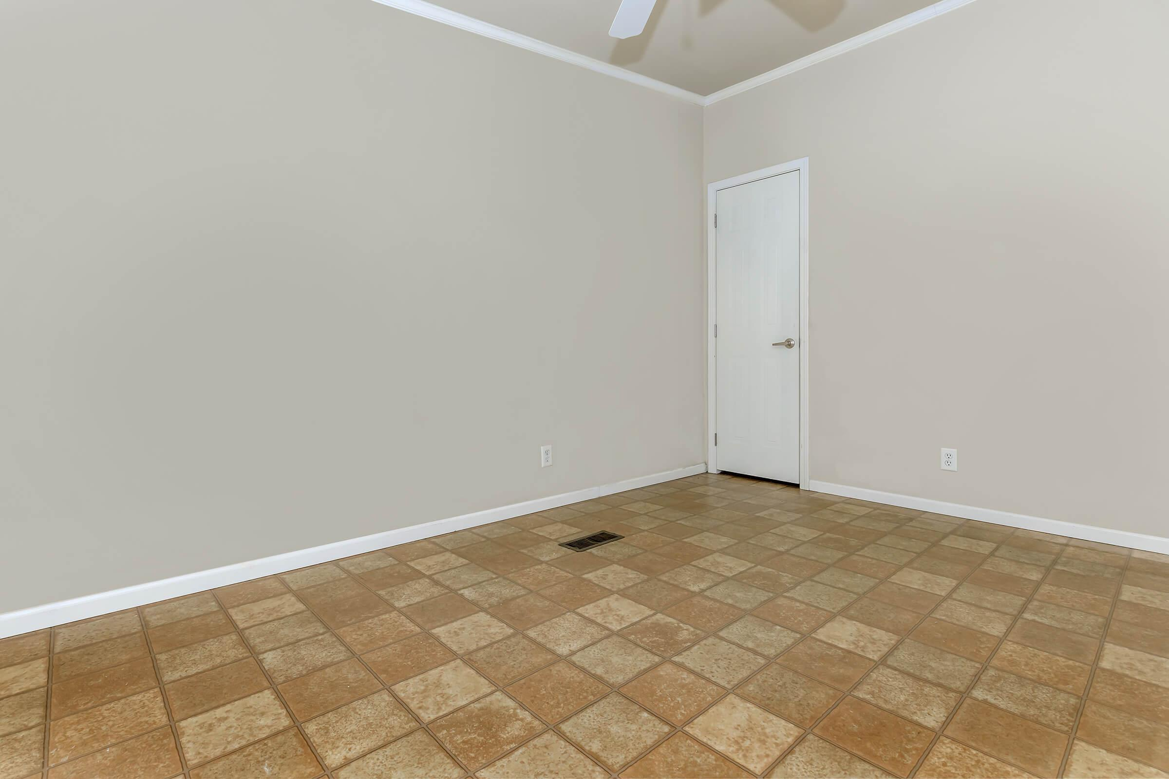 a white tile floor