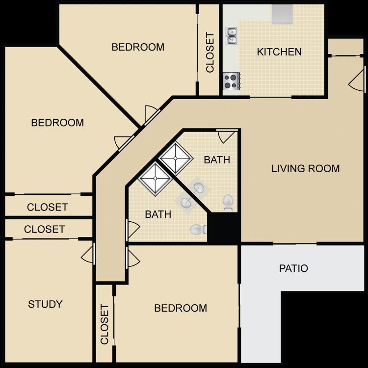 Floor plan image of Hillcrest 3 bed 1 Bath