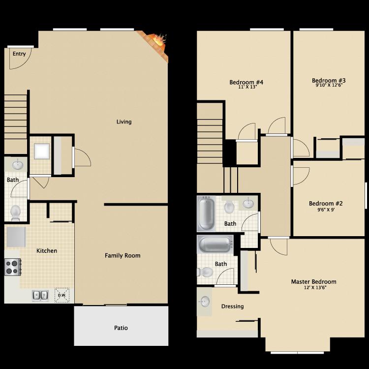Floor plan image of 4 Bed 2.5 Bath TH