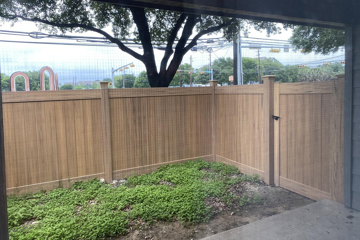 a view of a fenced in area