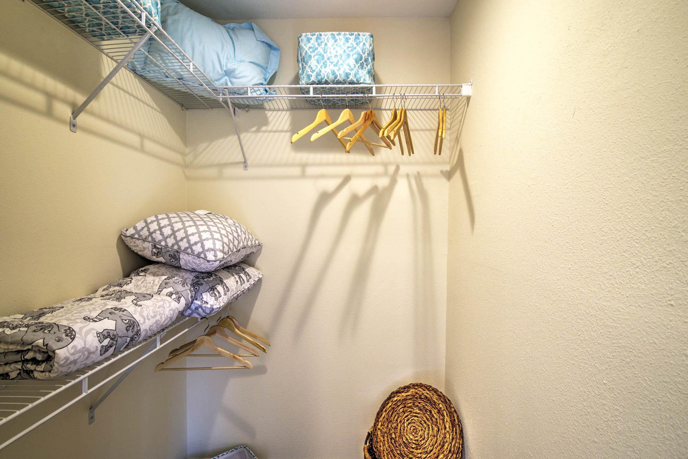 one bedroom with walk in closet