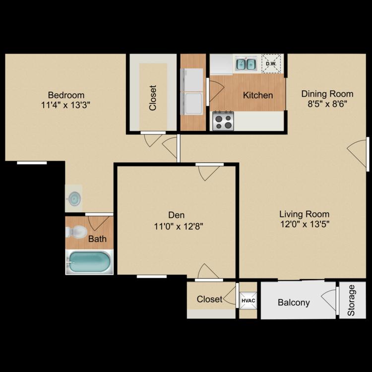 Floor plan image of 1 Bedroom Deluxe